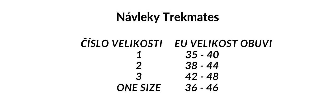 velikostní tabulka návleky Trekmates